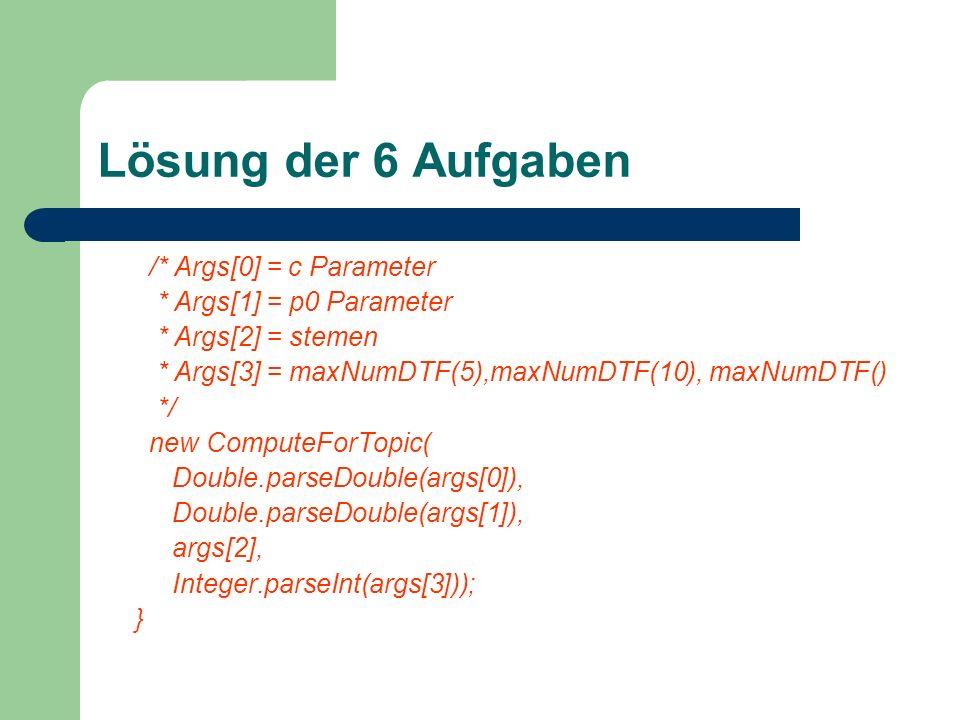 Lösung der 6 Aufgaben /* Args[0] = c Parameter